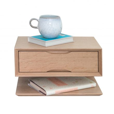 floating oak double drawer bedside table