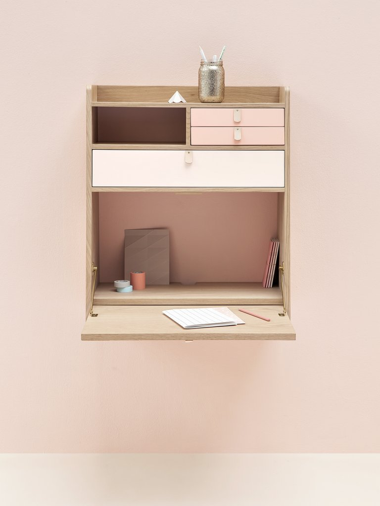 floating wall desk with storage