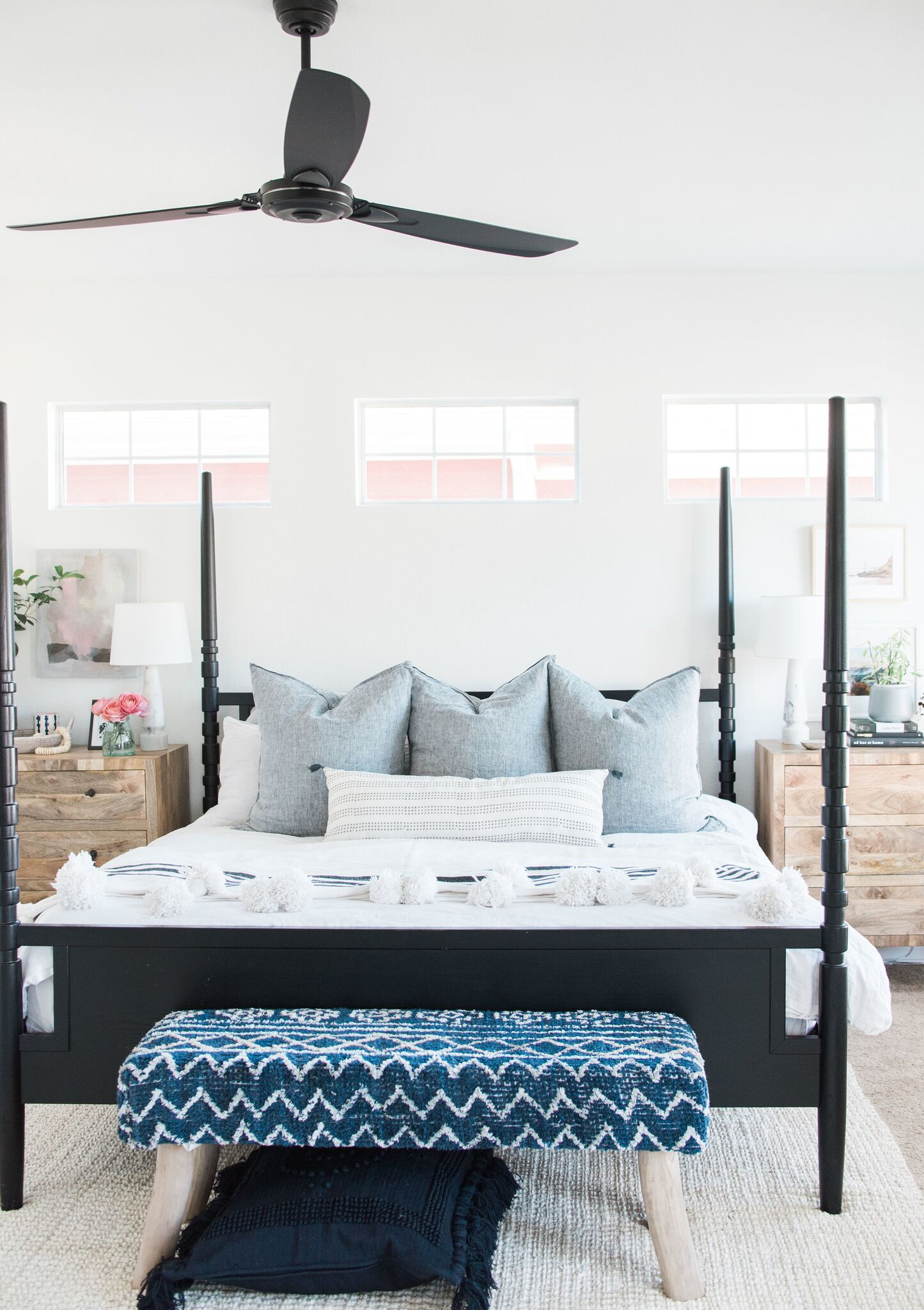 black four posted bed