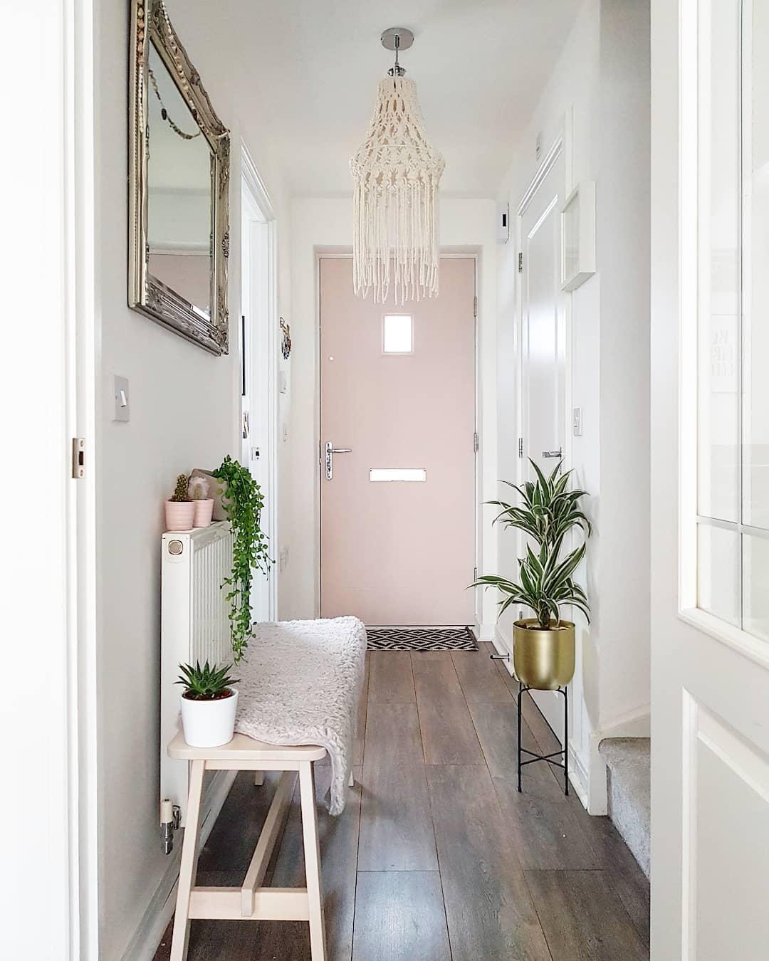 pink door in hallway