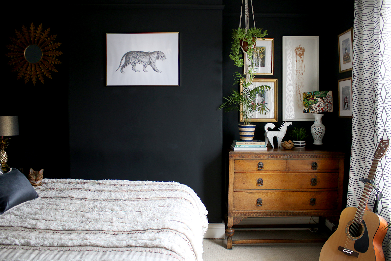 Black bedroom interior