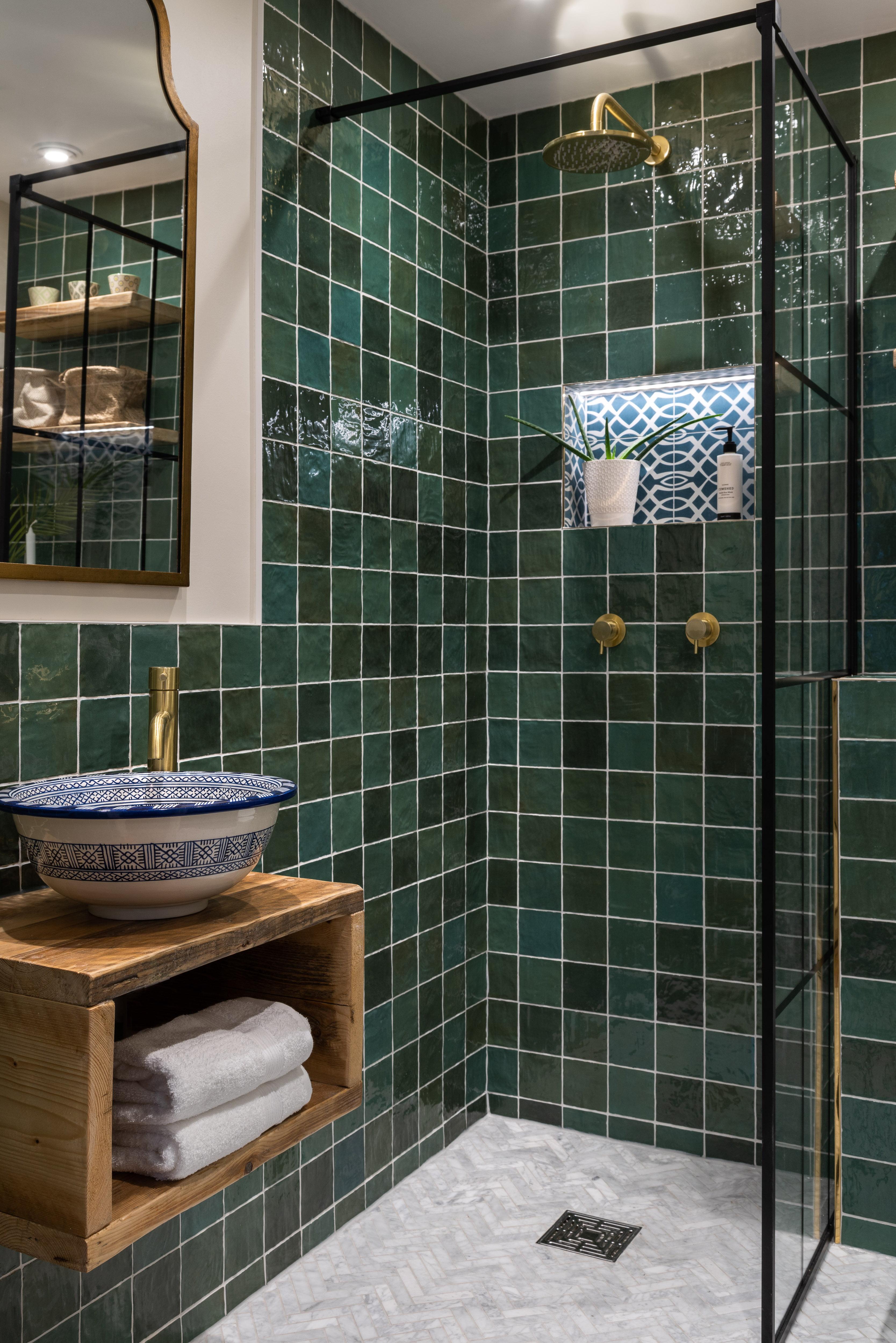 Green bathroom Hampstead-1