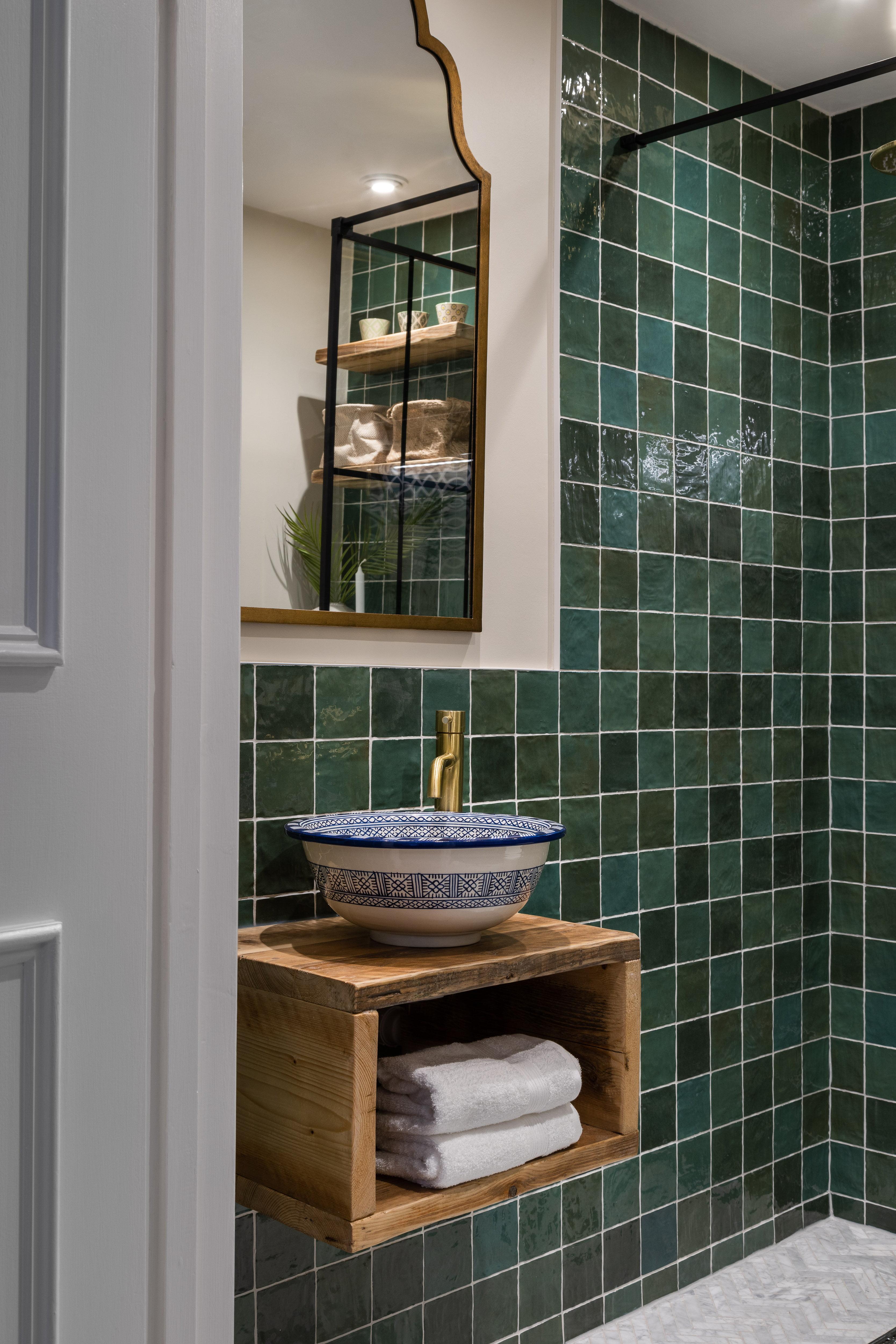 Green bathroom Hampstead-3