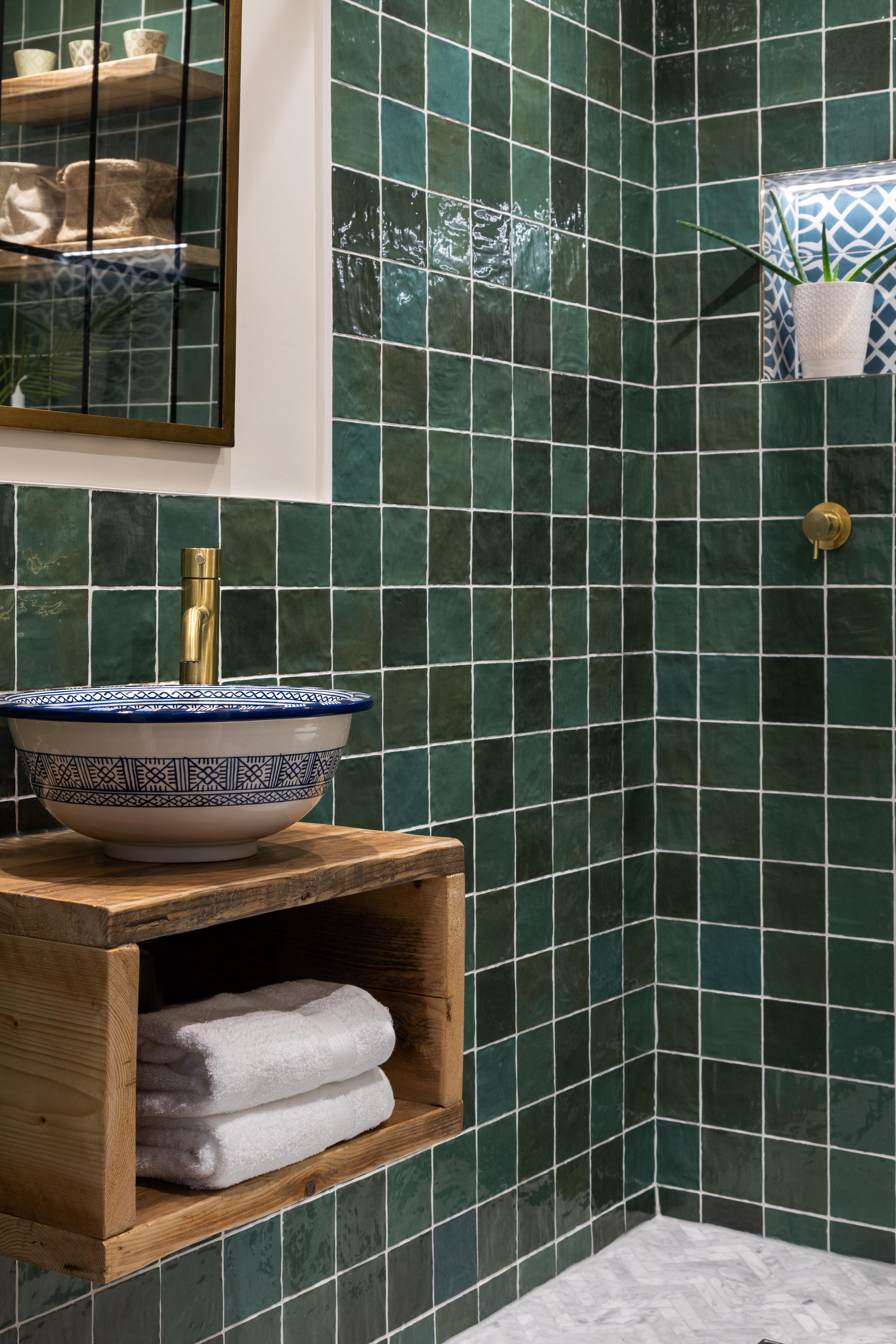 Green bathroom Hampstead-5