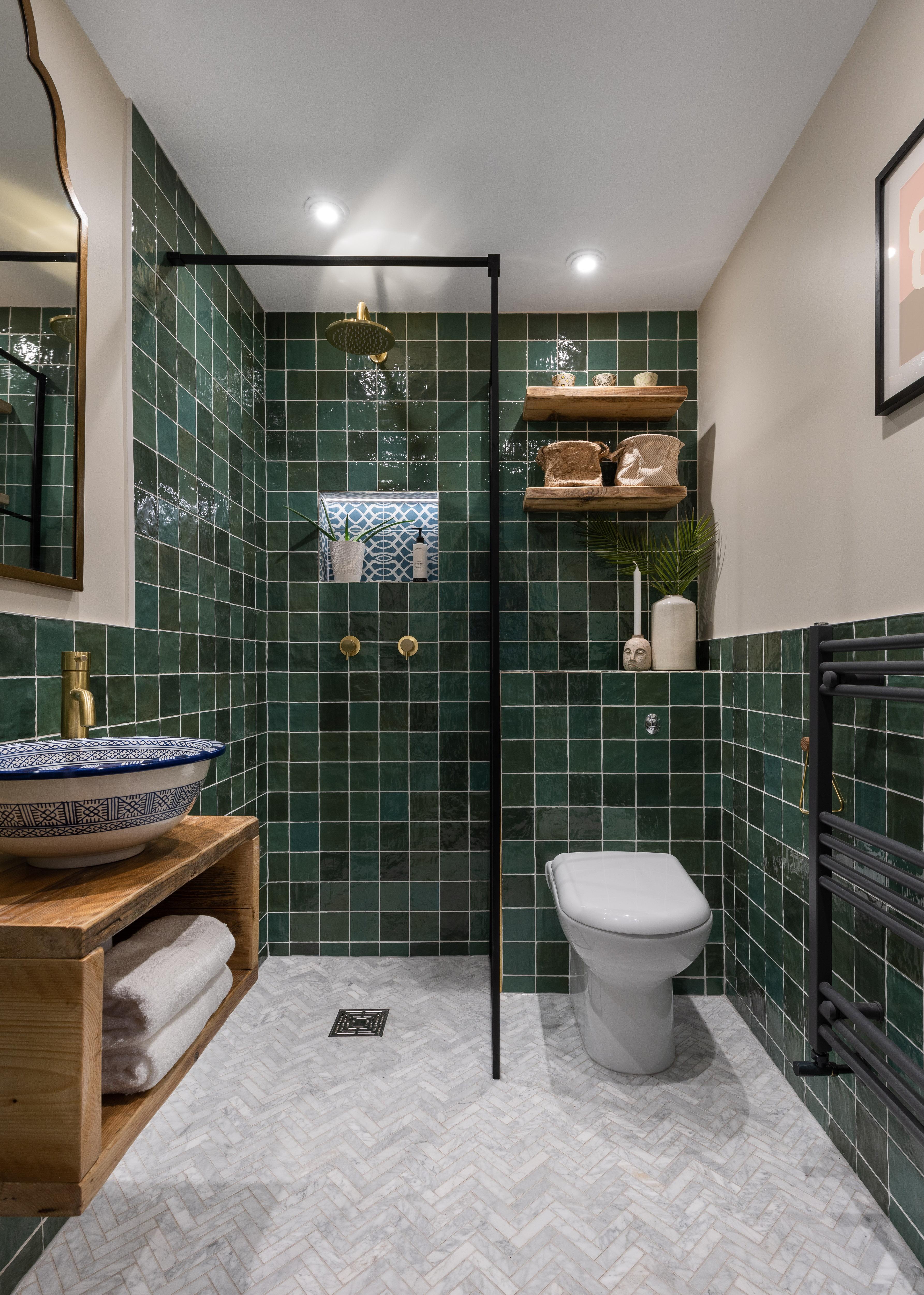 Green bathroom Hampstead-7