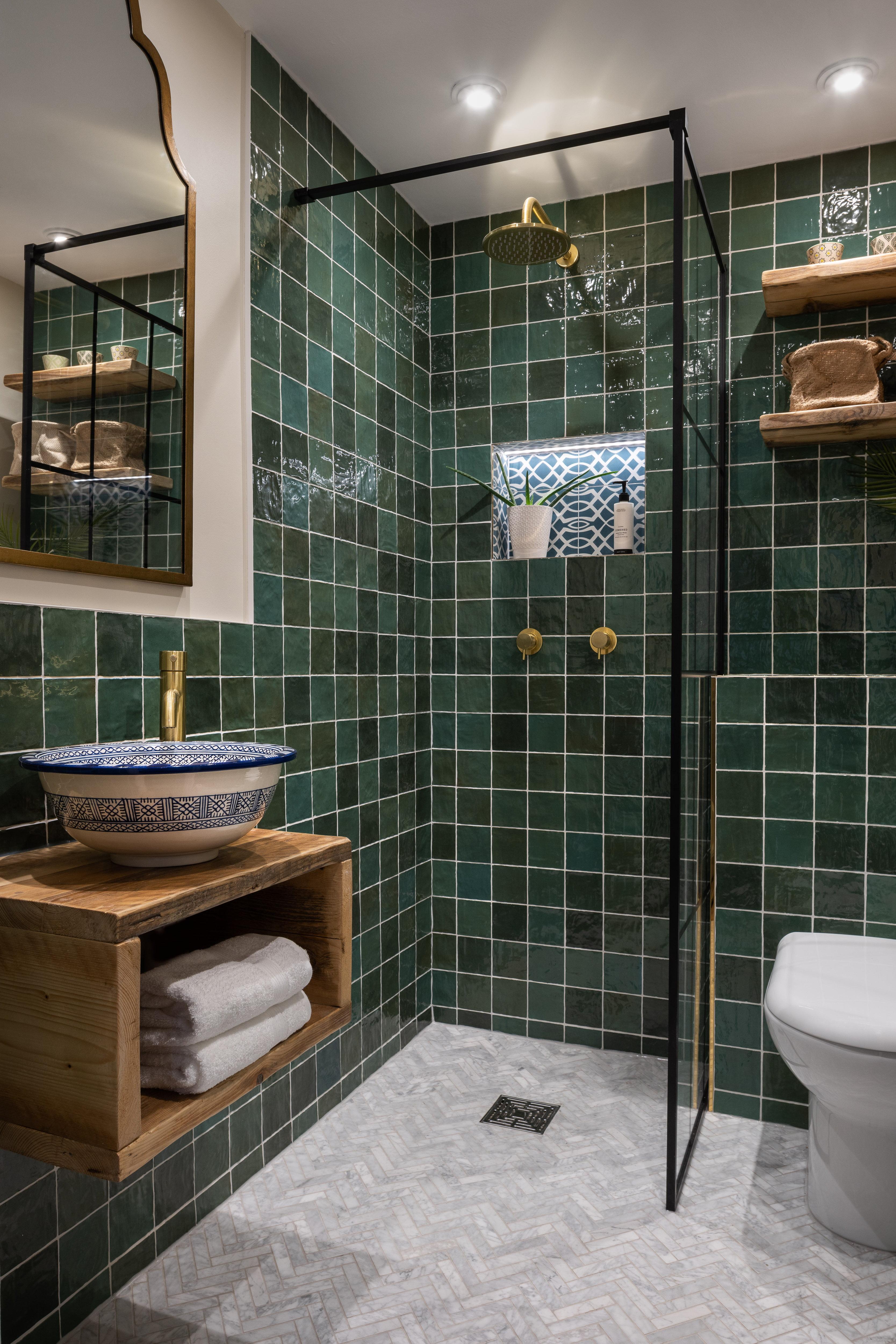 Green bathroom Hampstead-9
