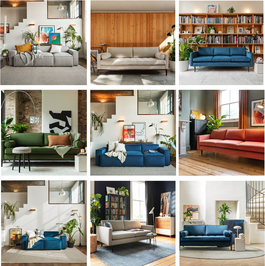 a collage of sofas from swyft